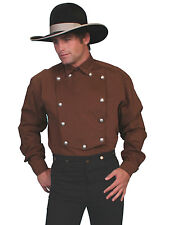 Scully Wahmaker Mens Brown 100% Cotton L/S Twill Bib Old West Shirt