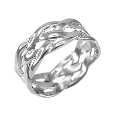 .925 Sterling Silver Celtic Braided Weave Wedding Band Ring