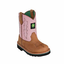 John Deere Youth Girls Pink Leather Classic Pull-On Cowboy Boots