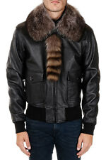 GIVENCHY New Man Black Leather with fur Jacket Made in Italy NWT