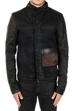 RICK OWENS DRKSHDW Man Denim Jacket with Details in Leather Made in Italy