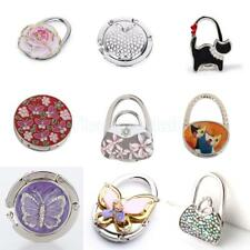 Folding Rhinestone Purse Bag Support Hanger Handbag Table Travel Hook Holder
