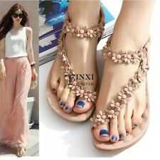 Casual Womens Girls Flat Sandals Stretch Strap Rhinestone Beaded Flip Flop Shoes