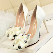 Lady Satin Pointed Toe Big Bowknot Pumps High Heels Women Party Shoes Stilettos