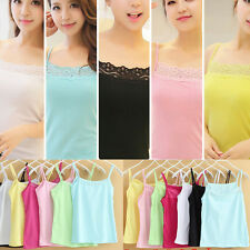 Women Sleeveless Camisole Stretch Spaghetti Cotton Lace Tank Rhinestone Top Vest