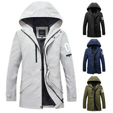 Men's Slim Fit Casual Hooded Trench Coat Outerwear Jackets Tops Zip up Biker New