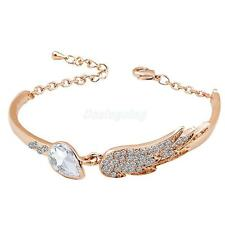 Fashion Rhinestone Crystal Women Cuff Bracelet Lovers Angel Wings Cuff Bangle