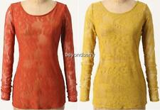 NEW Anthropologie Ella Moss Lacy Longsleeved Tee  Size XS & M