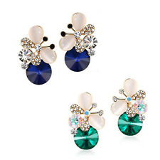 1 pair Elegant Asymmetric Rhinestone Butterfly Women Jewelry Hot Stud Earrings