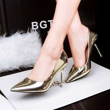 Fashion Sexy PU Leather Nice Pointed Toe Pumps Kitten High Heels Women's Shoes