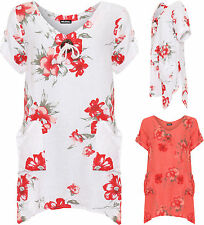 Womens Plus Baggy Top Ladies Floral Print Pocket Round Neck Button Tie T-Shirt