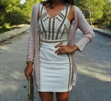 ZARA aztec ethnic beaded sequins dress cream bloggers Fav Sold Out XS S