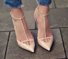 ZARA Cut out POINTED ANKLE STRAP T Bar Nude HEELS Patent Leather US 6 7.5 9