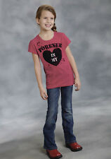 Roper Girls Red 100% Cotton S/S Forever in My Heart Graphic Tee T-shirt