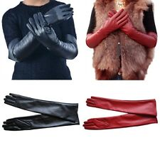 Women Lady Winter Long  Leather Gloves Touchscreen Elbow Length Evening Party 1x