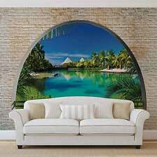 Beach Tropical Island Window View WALL MURAL PHOTO WALLPAPER (2841DK)