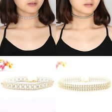 Women's Charm Gold Choker Collar Bow Rhinestone Crystal Chain Celebrity Necklace
