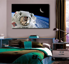 Astronaut Spaceman in Helmet Earth Moon Open Space Canvas Art Poster Print
