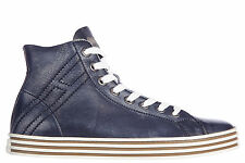HOGAN MEN'S SHOES HIGH TOP LEATHER TRAINERS SNEAKERS NEW REBEL R141 VINTAGE  08E