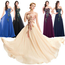 New Peacock Vintage Long Wedding Gown Evening Formal Party Prom Bridesmaid Dress
