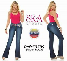 BUTT LIFTER COLOMBIAN BOOT CUT JEANS IN MEDIUM BLUE COLOR #50589 SIZE 5,