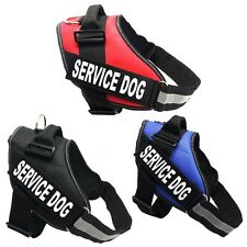 Nylon Reflective Service Dog Vest Harness For Walking Training Removable Patches