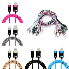 Durable Nylon Braided Micro USB Data Sync Charger Cable For Samsung S6 Edge Lot