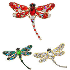 Women's Dragonfly Crystal Brooch Lovely Rhinestone Scarf Pin Jewelry Perfect