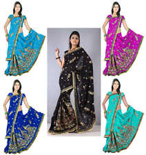 Bollywood Partywear Wedding Sequin Embroidery Saree Sari Bellydance Costume KK