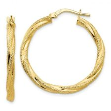 3 mm Textured Twisted Hoop Earrings Genuine 14k Yellow Gold - 21 to 31mm