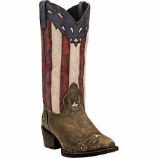 Laredo Womens Brown Keyes Leather Cowboy Boots Stars & Stripes