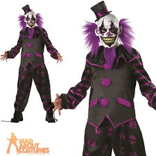 Adult Bearded Clown Costume Halloween Horror Circus Mens Fancy Dress Outfit New