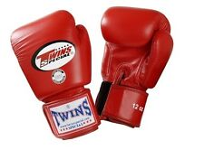 Twins Special Muay Thai Boxing Gloves Premium Leather w/ Velcro Red BGVL3