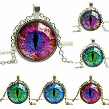New Popular Colored Dragon Cat Eye Glass Cabochon Plated Pendant Necklace