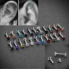 CZ Gem Steel 16G Barbell Ear Cartilage Tragus Helix Stud Earring Body Piercing