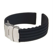 18/20/22/24mm Silicone Rubber Waterproof Watch Band Strap Deployment Buckle Cool