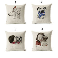 Lovely Dog Cute Kid Cushion Covers  Cotton Linen Throw Pillow Case