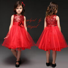 Flower Girl Dress Baby Girls Sequin Wedding Bridesmaid Party Princess Dresses