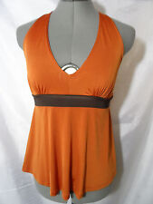 Nwt V.R.K. Plunge V neck Top women M Pink Rust empire waist Sexy cleavage Blouse