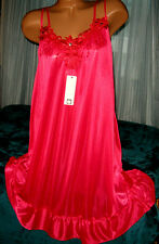 Red Semi Sheer Nightgown Slip Chemise 1X 2X Silky Plus Size Short Gown