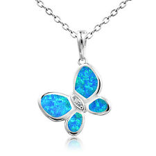 Dormith 925 Silver Charm Blue Fire Opal Flying Butterfly Pendant Necklace 18inch