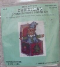 Teddy Bear-In-A-Box - Mini Motif Christmas Counted Cross Stitch Kit - #8. Delive