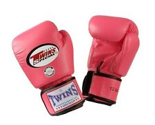 Twins Special Muay Thai Boxing Gloves Premium Leather w/ Velcro Pink 4 oz BGVL3