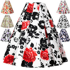 Summer Womens Cotton Vintage Skirt Dress Stretch High Waist Floral Pinup Pleated
