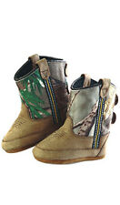 Old West Camo Infants Boys Apache Leather Comfort Poppets Cowboy Boots