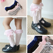 Cute Baby Girls Lace Ruffle Knee High Frilly Socks Princess Cotton Long Socks