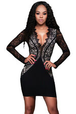 Women Dress Hollow Out Zip Black Scalloped V Neck Lace Long Sleeve Mini Dress