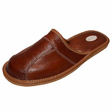 New Mens Genuine Leather Slippers Shoes Mules, Hand Made Brown Size 9 (EUR 43)