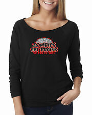 Zombies Eat Brains Halloween Scary Off The Shoulder French Terry Top T-Shirt