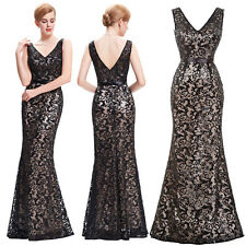 Sexy Women V-neck Formal Sequined Long Cocktail Wedding Party Evening Gown Dress
